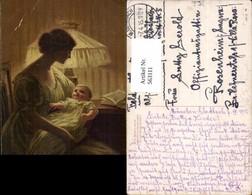 563111,Künstler Ak Paul Heckscher Seines Vaters Lächeln Mutter Kind Lampe Interieur E - Ansichtskarten
