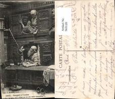 563120,Rappel A L Ordre Bett Im Schrank Bank Interieur Einrichtung - Ansichtskarten