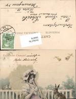 564079,tolle Künstler AK Jugendstil R. V. Wichera Ostern Frau Schirm Munk Vienne - Ostern
