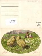 564110,tolle Künstler AK H. Schubert Ostern Küken Osterhasen Schulverein 1800 - Ostern