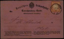 Dt. Reich Correspondenz Frage-Karte EF Brustschild 3 Glückstadt Kiel 13.12.1873 - Deutschland