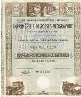Ancienne Action - Sté Anonyme De Publications Périodiques - Imprimerie E.Desfossés-Néogravure -  Titre De 1868 - - Industrie