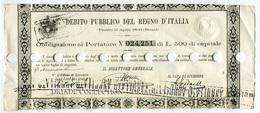 OBBLIGAZIONE AL PORTATORE DEBITO PUBBLICO DEL REGNO D'ITALIA PRESTITO 11 APRILE ANNO 1866 BLOUNT - Azioni & Titoli