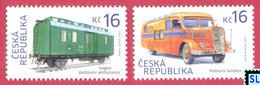 Czech Republic Stamps 2017, Historical Vehicles, Trains, Railroad Mail Car, Post Bus, MNH - Czech Republic