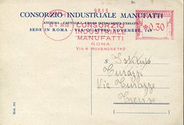 33317 Italia, Red Meter/freistempel/ema/roma 1939 Consorzio Industriale Manufatti, Circuled Card - Affrancature Meccaniche Rosse (EMA)