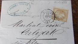 27.04.18_LAC De St-Flour Pour Calizat Sur N°21,texte - Marcophilie (Lettres)