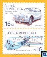 Czech Republic Stamps 2016, Historical Vehicles, Aero A.11 Biplane, Tatra 87 Car, MNH - Czech Republic