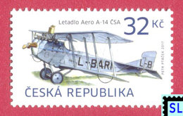 Czech Republic Stamps 2017, Historical Vehicles, AERO A-14 ČSA Airplane, Plane, MNH - Czech Republic