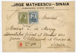 ROUMANIE ENV 1919 SINAIA LETTRE RECOMMANDEE LOCALE ( VERSO VIGNETTE LITHO MATHEESCU SINAIA ) - 1918-1948 Ferdinand, Carol II. & Mihai I.