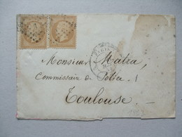 FRANCE - 1883 Cover Paris To Toulouse Tied With Napoleon 10c Bistre X 2 - 1862 Napoleone III