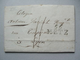 FRANCE - 1811? Entire With 55 Metz Mark To Lyon - 1792-1815: Conquered Departments