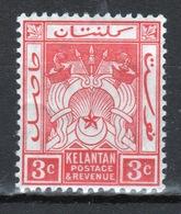 Malaya Kelantan 1911 Three Cent Red Mounted Mint Stamp. - Kelantan