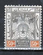 Malaya Kelantan 1911 Fifty Cent Black And Orange Mounted Mint Stamp. - Kelantan