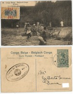 Congo Belge M'pala Impala Fishermen Pecheurs PSC C15 + OVPT C25/15 Leo.ville 24may1922 To Italy - Kinshasa - Léopoldville