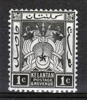 Malaya Kelantan 1921 One Cent Black Mounted Mint Stamp. - Kelantan