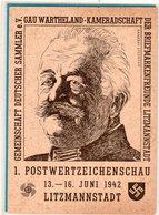 Ganzsache Postwertzeichenschau Sonderstempel Litzmannstadt 1942 - Germania