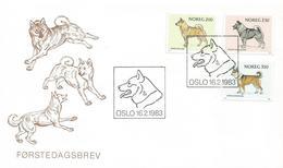 Norway 1983 Oslo Dog Norwegian Buhund Elkhound Lundehund FDC Cover - Honden