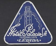 étiquette Valise  -  Hôtel Palacio  à Lérida    Espagne - Hotel Labels