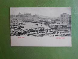 CPA SINGAPORE SINGAPOUR BOAT QUAI TIMBRE 1 C VERT STRAITS SETTLEMENTS CACHET SINGAPORE A PARIS DISTRIBUTION JUILLET 1908 - Singapur