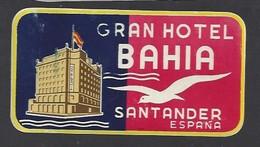étiquette Valise  -  Hôtel Bahia  à Santander    Espagne - Hotel Labels