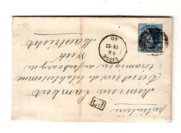 TP 7 4 Marges S/LAC écrit De Val Benoit C.Liège 11-12-1860 + Obl.barres 73 V.Wick (Maestricht) C.d'arrivée - Postmark Collection