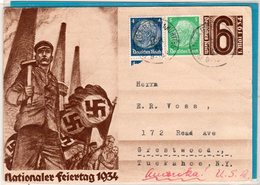 Ganzsache Auslandskarte Weingarten - Tuckahoe N. Y. 1935 - Deutschland