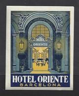 étiquette Valise  -  Hôtel Oriente  à Barcelona (Barcelone)    Espagne - Hotel Labels