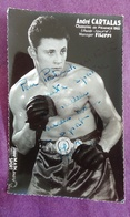PHOTO BOXE DEDICACEE : CARTALAS André, Champion De France 1962 (poids-lourd). Manager Filipi. Studio Mari Sport. - Boxing
