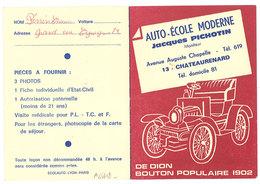 Publicité Dépliant Auto Ecole Moderne J. Pichotin, Châteaurenard, De Dion Bouton - Publicités