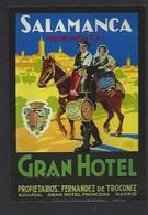 étiquette Valise  -  Grand  Hôtel à  Salamanca (Salamanque)    Espagne - Hotel Labels