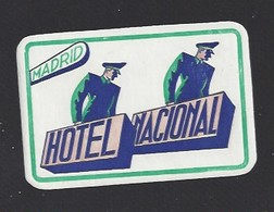 étiquette Valise  -  Hôtel Nacional à Madrid    Espagne - Hotel Labels