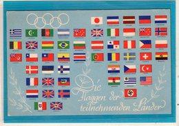 AK Olympiade Flaggen Der Teilnehmenden Länder - Sonderstempel Berlin 1936 - Germania