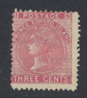 Prince Edouard - Prince Edward Island 1872 Victoria 3 C Rose Perf 12 1/2 - 13 *MH - Prince Edouard (Ile)