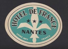 étiquette Valise  -  Hôtel De France  à Nantes  (44)  France - Hotel Labels