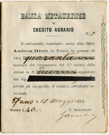 RICEVUTA ACQUISTO AZIONI LIRE 40 BANCA METAURENSE DI CREDITO AGRARIO FANO PESARO URBINO ANNO 1831 - Azioni & Titoli