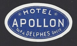 étiquette Valise  -  Hôtel Apollon  à Delphes  Grèce - Hotel Labels