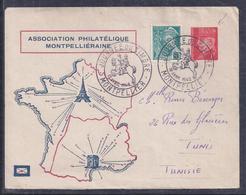 Entier Postal Journee Du Timbre 1942 Montpellier Petain Mercure - Enveloppes Repiquages (avant 1995)