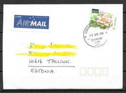 AUSTRALIA 2018 Air Mail Letter To Estonia Lotus Lily Flower - 2010-... Elizabeth II