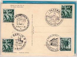 AK A. H. 20. April 1938 - Sonderstempel München - Berlin - Brauenau - Pasewalk - Germania
