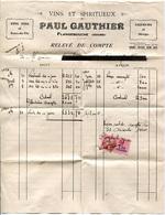FATTURA VINS LIQUEURS SPIRITUEUX PAUL GAUTHIER FLANGEBOUCHE DOUBS FRANCIA ANNO 1940 VINI LIQUORI BOURGOGNE - 1900 – 1949
