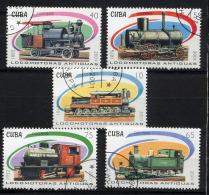 CUBA 2001, TRAINS LOCOMOTIVES ANCIENNES, 5 Valeurs, Oblitérés / Used. R1454 - Trains