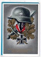 AK Stahlhelm Eichenlaub Eisernes Kreuz - Sonderstempel Prag 1941 / 1942 - Germania
