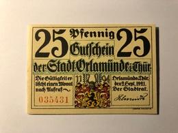 Allemagne Notgeld Orlamunde 25 Pfennig - [ 3] 1918-1933 : République De Weimar