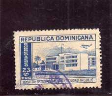 DOMINACAN DOMINACAINE DOMINICANA REPUBBLICA 1952 AIR MAIL AEREO HOSPITAL GAUTIER CENT. 23c USATO USED OBLITERE' - Repubblica Domenicana
