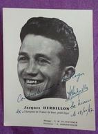 CARTE PHOTO BOXE DEDICACEE : HERBILLON Jacques. Champion De France, Poids Léger. - Boxe