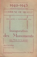 Sirault - Programme Souvenir De L'inauguration Des Monuments 1940-1945, 17 Nov 1946 ( Voir Verso ) - Saint-Ghislain