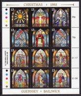GUERNSEY - 1993 CHRISTMAS STAINED GLASS WINDOWS SHEETLET (12V) SG 622a FINE MNH ** - Guernsey