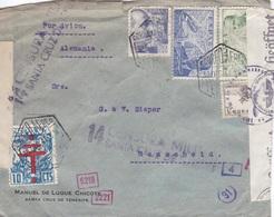 Spanien Luftpost-Zensur-Brief Gest. - Ansehen!! - 1931-50 Storia Postale