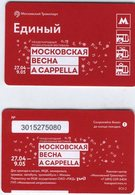 """Russia 2018 1 Ticket Moscow Metro Bus Tramway Trolleybus International Music Festival """"Moscow Spring. A Capella"""" - Subway"""