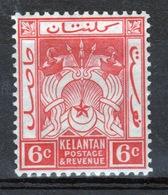 Malaya Kelantan 1921 Six Cent Scarlet Mounted Mint Stamp. - Kelantan